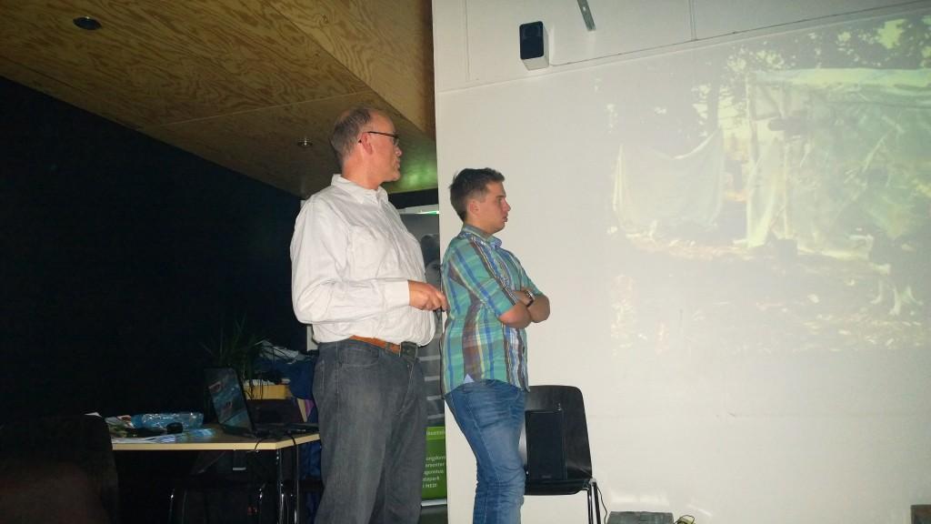 Eiliv Løchen til høyre og Lars Brekke til venstre fortalte fra Drømmeturen i Canada